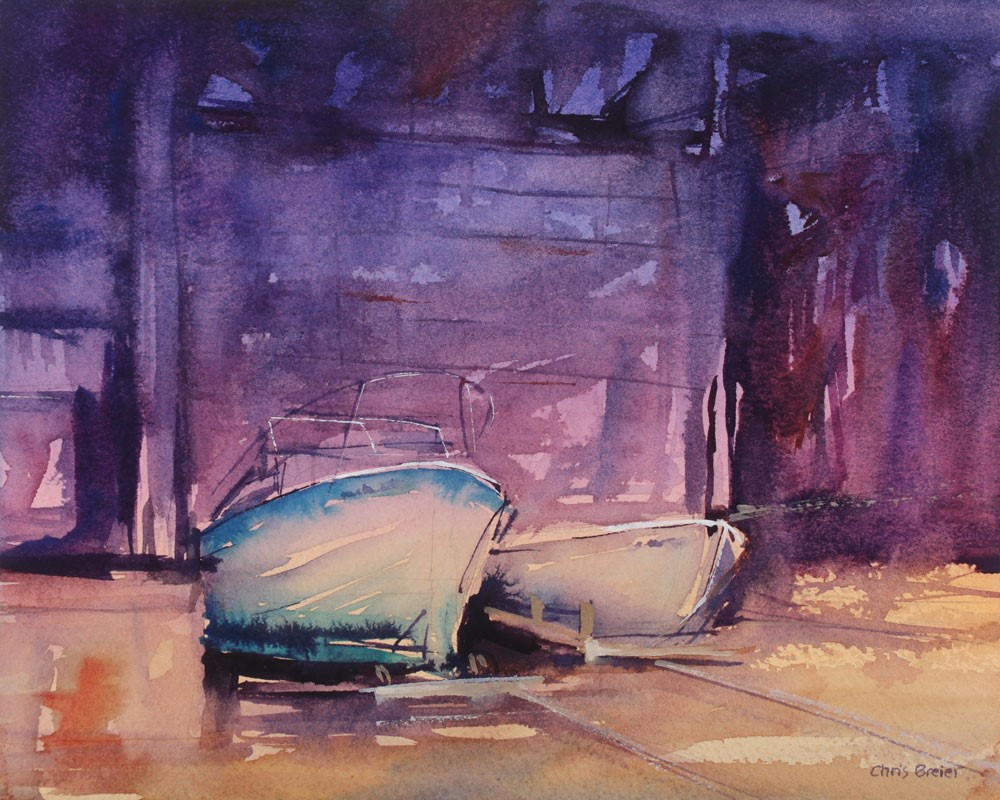 """Boat Warehouse I"" original fine art by Chris Breier"
