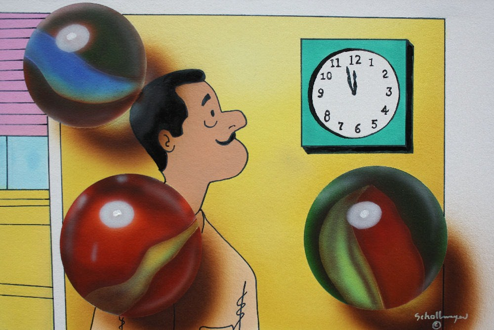 """""""I Must Be Losing My Marbles"""" original fine art by Fred Schollmeyer"""