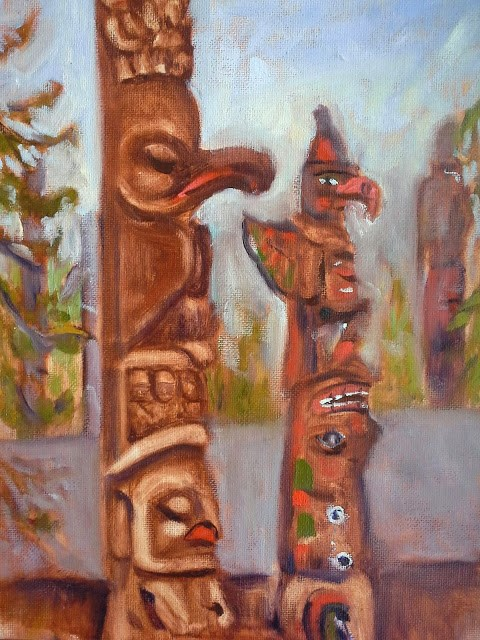 """Thunderbird Totem Poles"" original fine art by Darlene Young"
