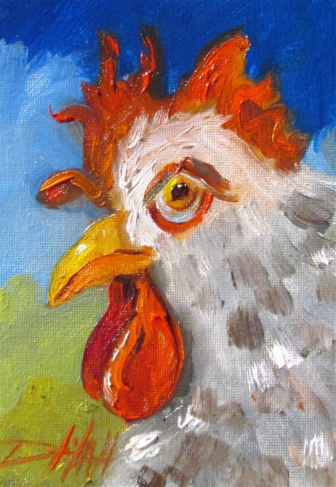 """""""Perky Rooster"""" original fine art by Delilah Smith"""