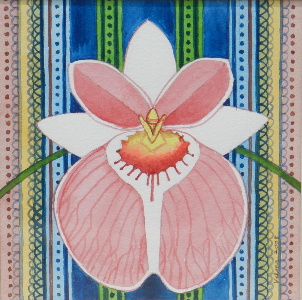 """Pink and White Orchid"" original fine art by Velma Davies"