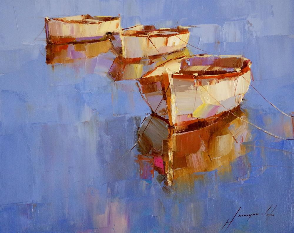 """""""Rowboats, Oil painting, impressionism, made by palette knife"""" original fine art by V Y"""