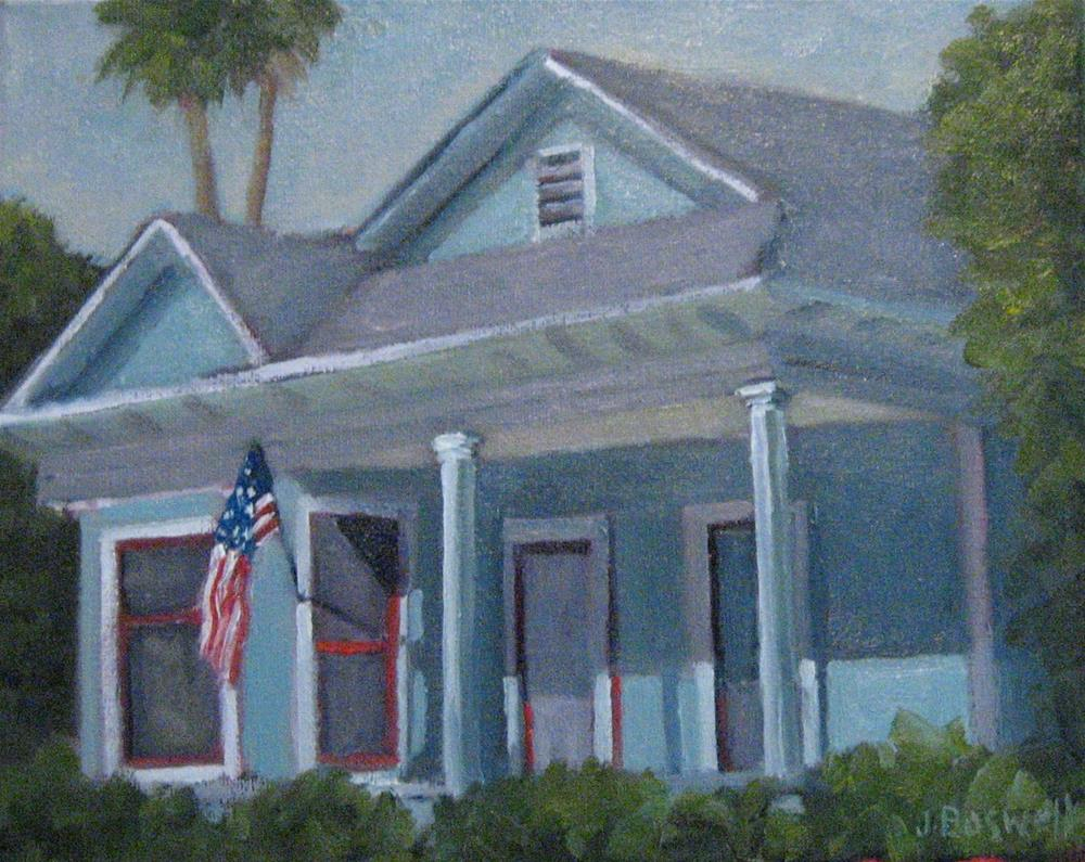 """""""Blue House with Flag"""" original fine art by Jennifer Boswell"""