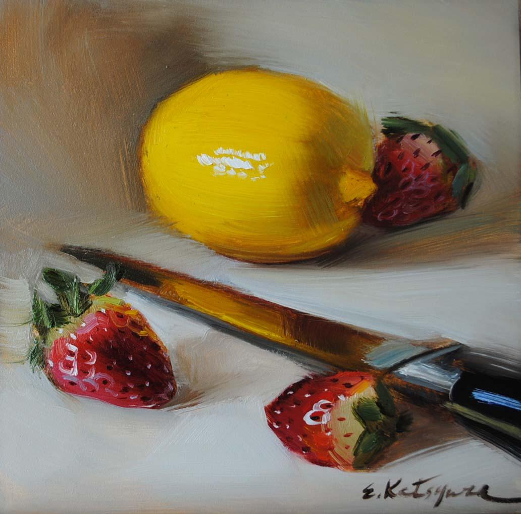 """Lemon & Strawberries"" original fine art by Elena Katsyura"
