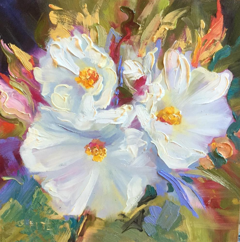"""Three Hollyhocks "" original fine art by Charlotte Fitzgerald"