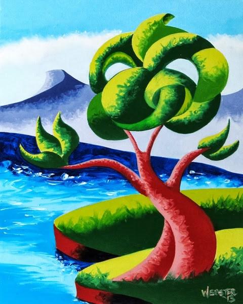 """Mark Webster - Abstract Geometric Futurist Landscape Oil Painting 13.9.24"" original fine art by Mark Webster"