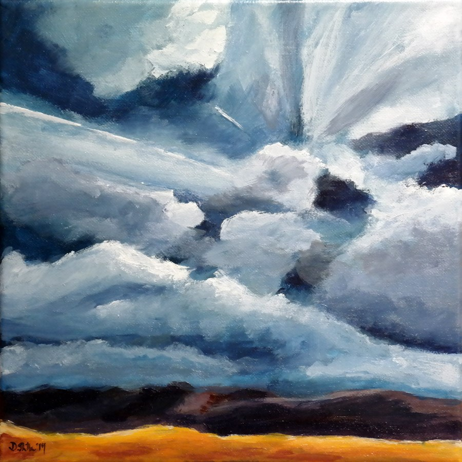 """0907 Sky over Ground Orange"" original fine art by Dietmar Stiller"