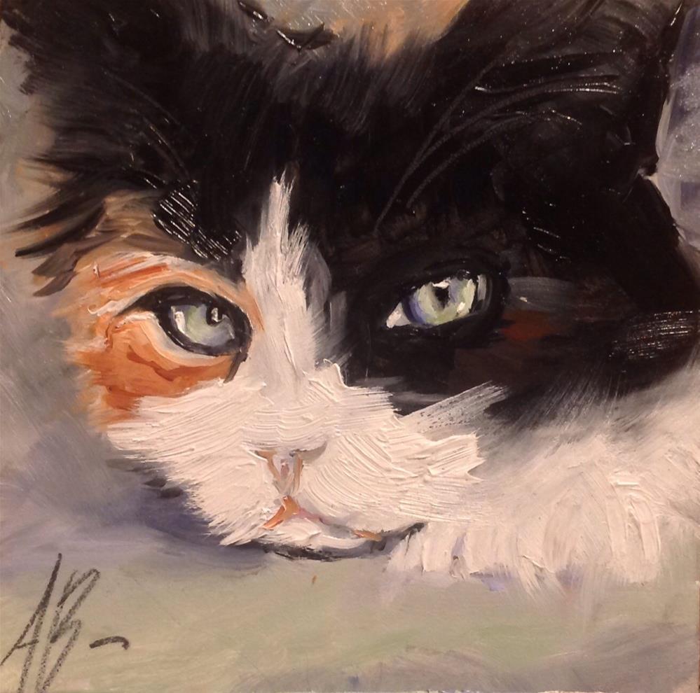 """Calico cat face"" original fine art by Annette Balesteri"