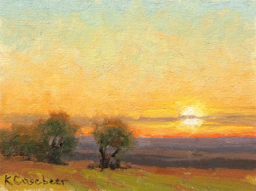 """Clear Evening Sunset"" original fine art by Kim Casebeer"