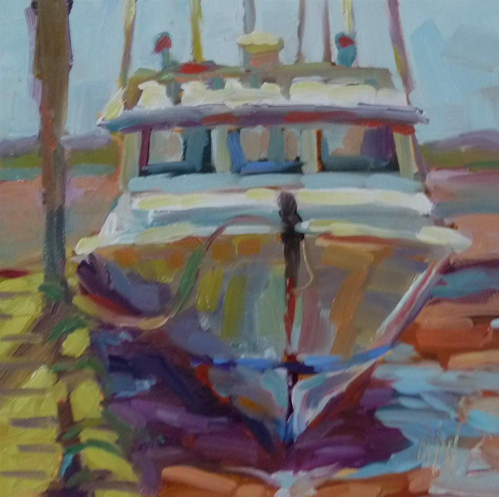 """""""On The Mud 6x6 oil on gesso board. The highest and lowest tides in the world are in the Bay of Fundy where I found this boat sitting on the red mud."""" original fine art by Mary Sheehan Winn"""