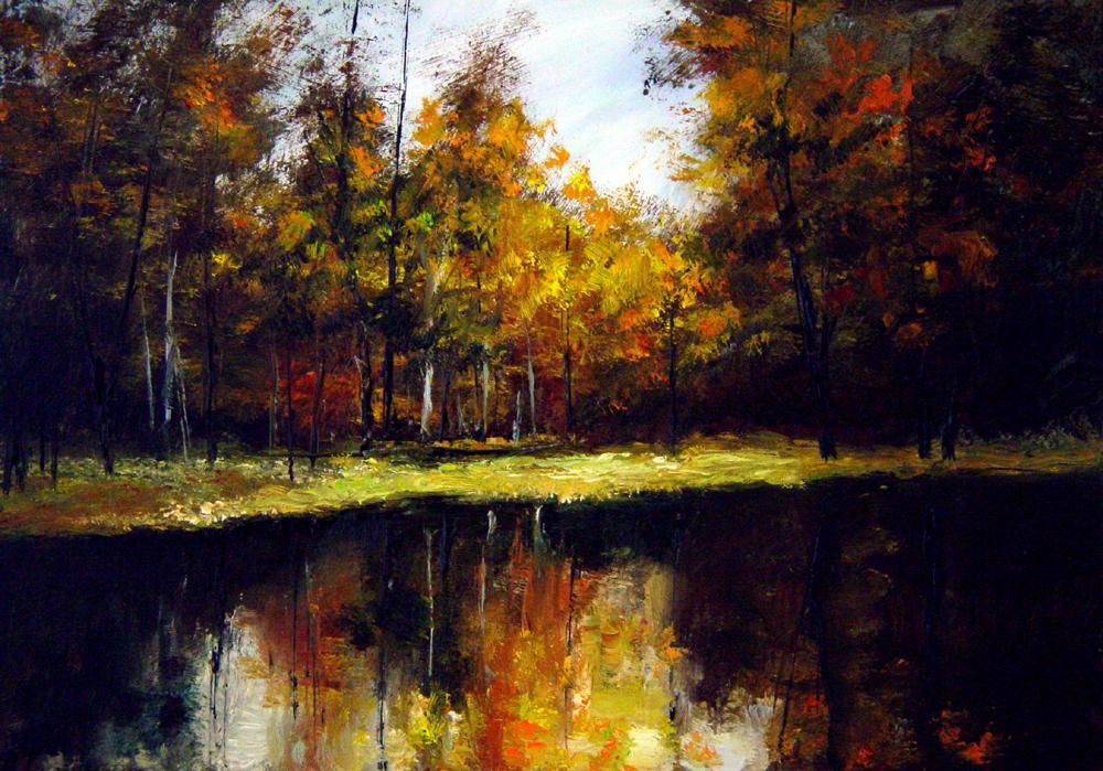 """A Lake in the Fall"" original fine art by Bob Kimball"