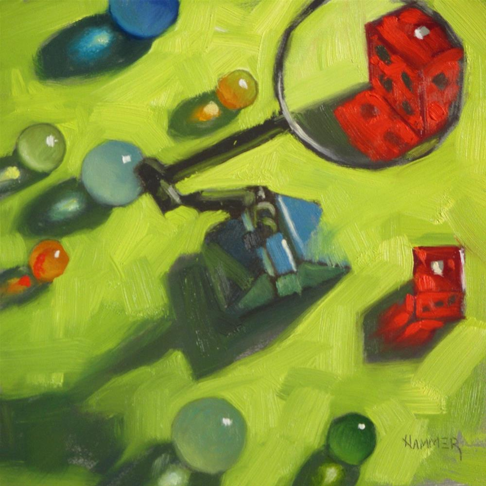 """Snake Eyes  6 x 6  oil"" original fine art by Claudia Hammer"