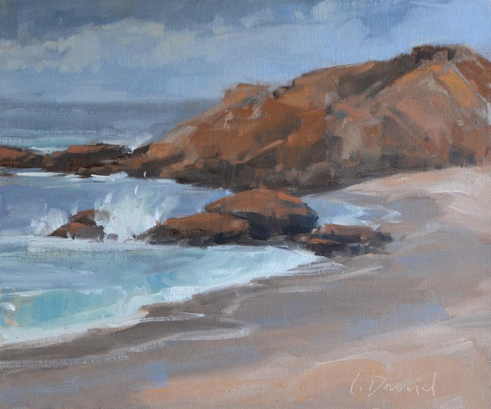 """Misty Spray - painting in Laguna Beach!"" original fine art by Laurel Daniel"