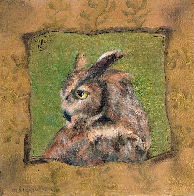 """Owl Alone - Theresa Taylor Bayer"" original fine art by Theresa Taylor Bayer"