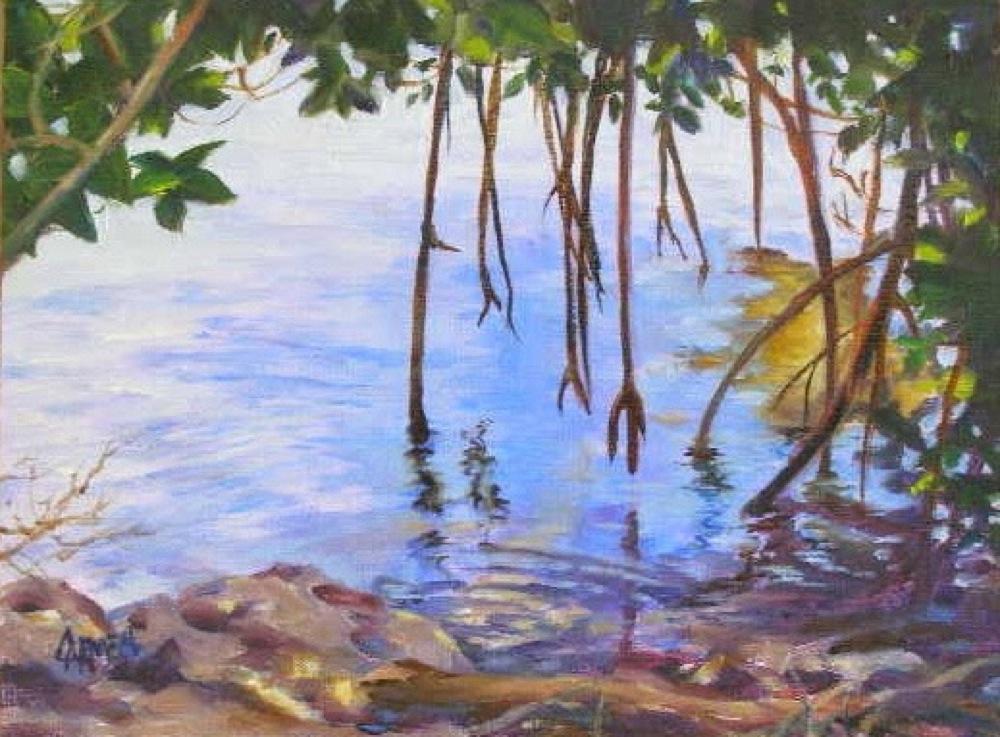 """""""Mangroves, 6x8"""" original fine art by Carmen Beecher"""