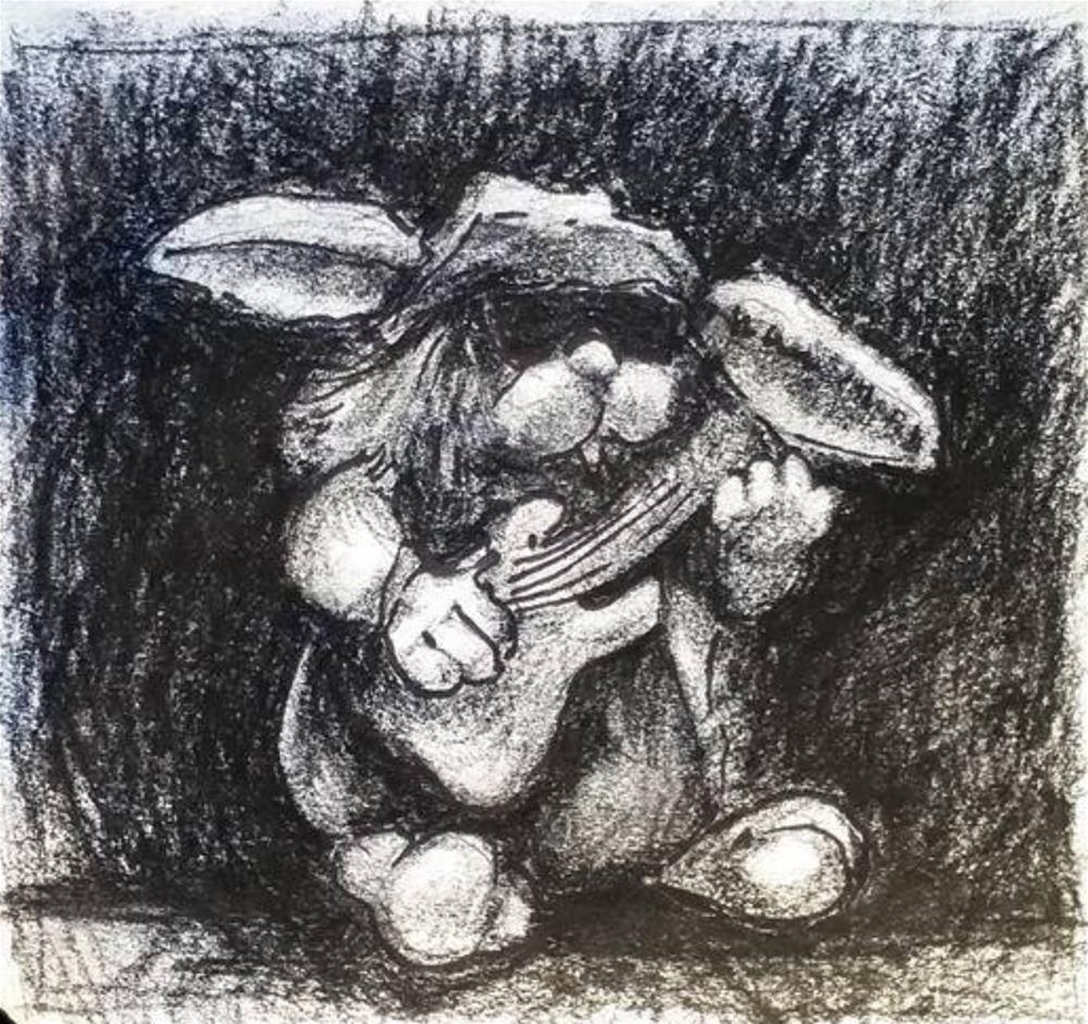 """Biker Rabbit Plays His Guitar"" original fine art by Selby Minner"