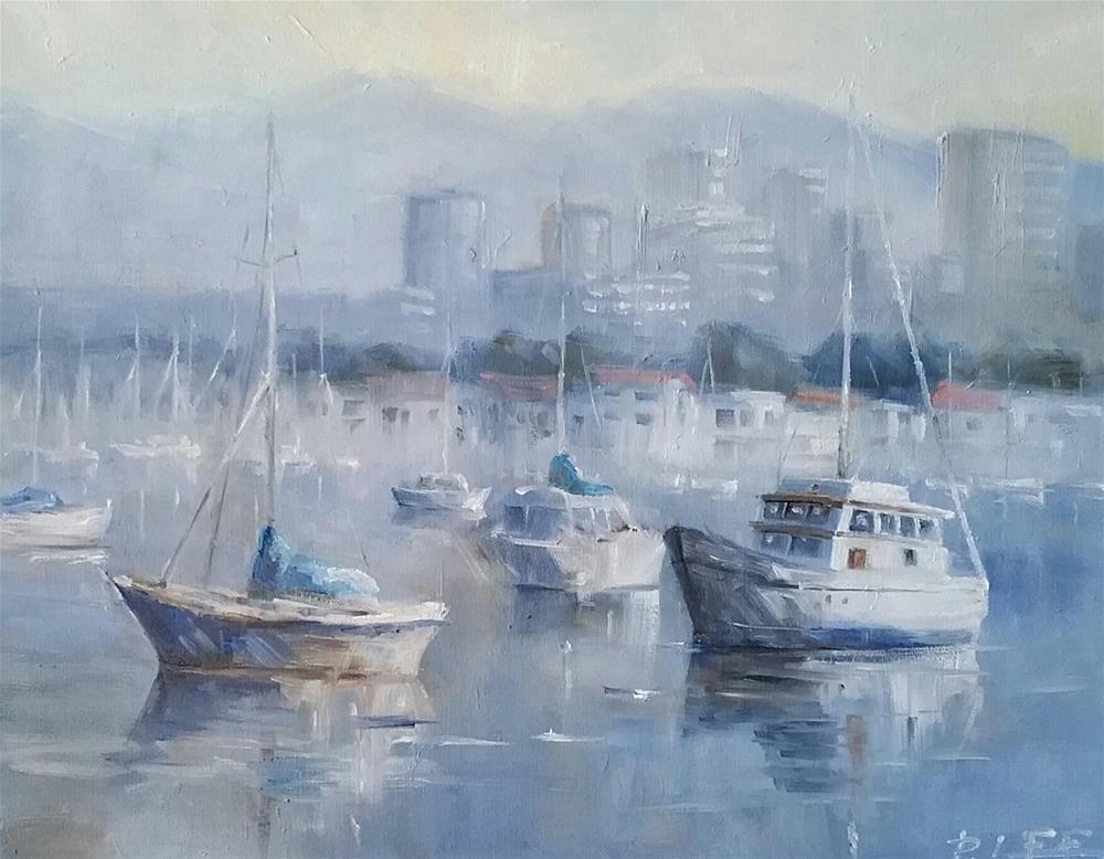 """""""Newport Harbor"""" original fine art by Peter Lee"""