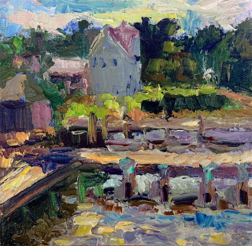 """White House from Pier, Ocracoke"" original fine art by Carol Steinberg"
