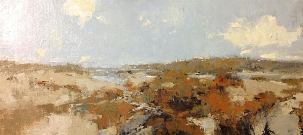 """Distant Beach 15x30 oil 2014"" original fine art by Deborah R Hill"