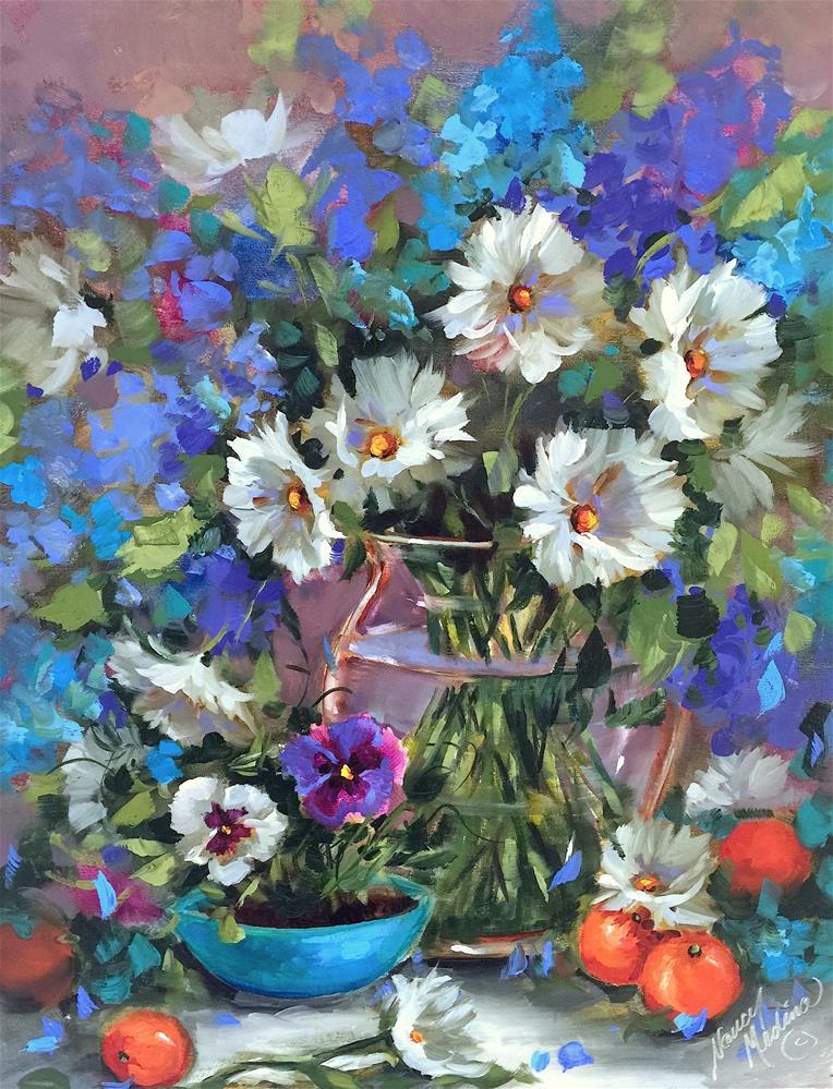 """Countdown to Online Color! Don't Be Blue Daisies - Nancy Medina Art"" original fine art by Nancy Medina"