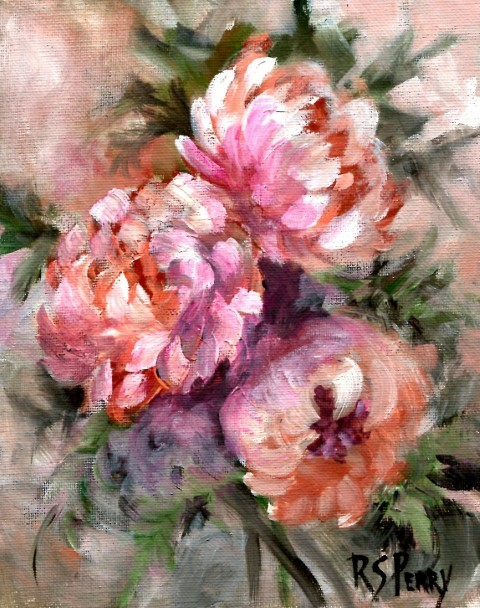 """Peonies, unframed."" original fine art by R. S. Perry"