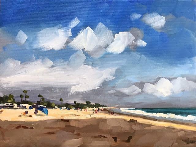 """""""Late Afternoon Beach"""" original fine art by Sharon Schock"""