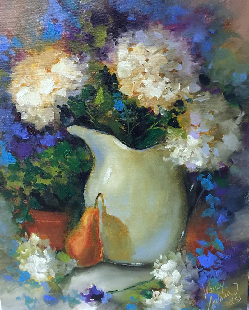 """Antique White Hydrangeas and an Illinois Workshop - Nancy Medina Art"" original fine art by Nancy Medina"