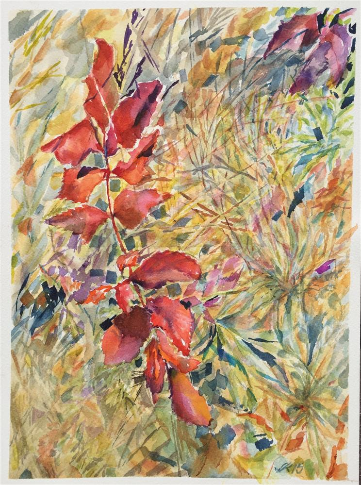 """Oregon Grape - Autumn"" original fine art by Jean Krueger"