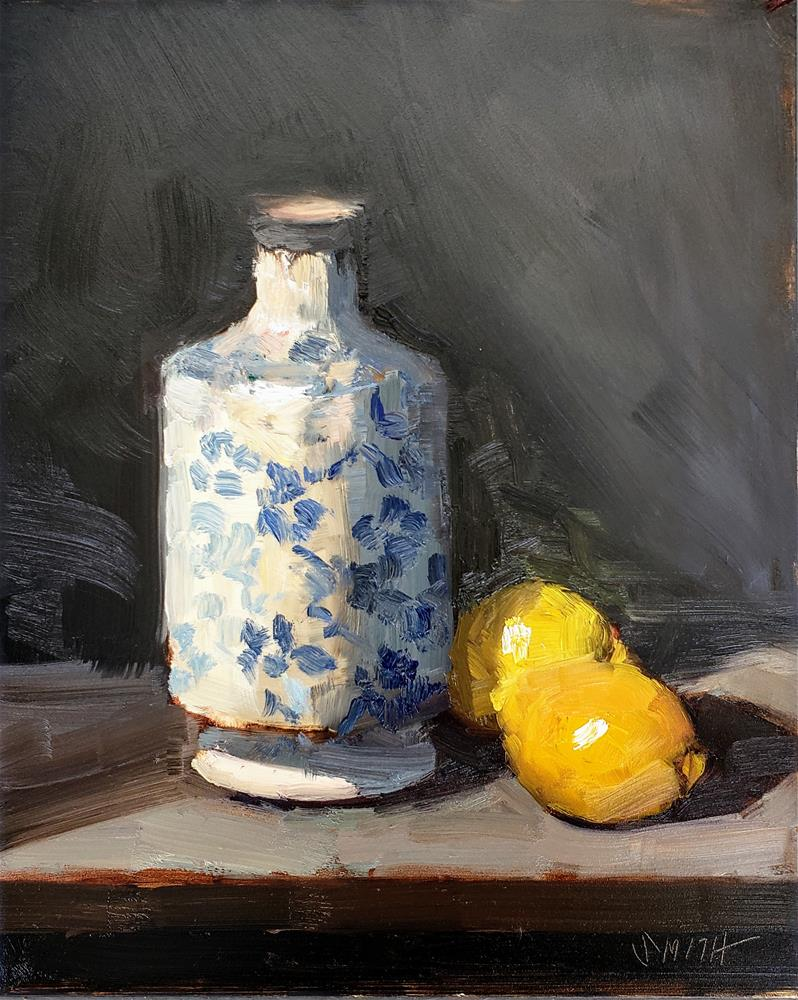 """Vintage Vase With Lemons"" original fine art by Barbie Smith"