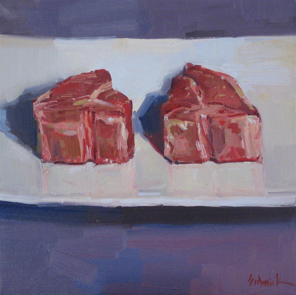 """Lamb Chops Meat painting still life oil on canvas food kitchen art"" original fine art by Sarah Sedwick"