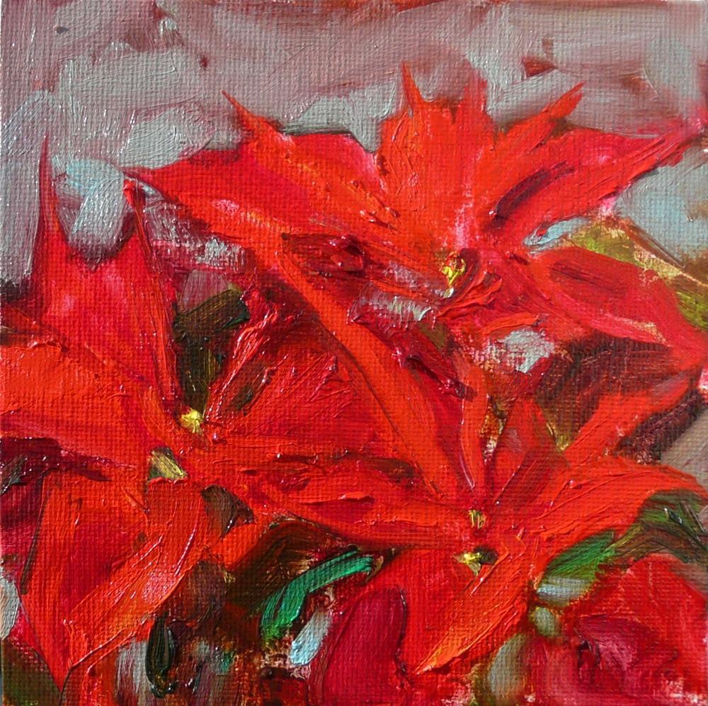 """Poinsettia Gift,still life,oil on canvas,6x6,price$150"" original fine art by Joy Olney"