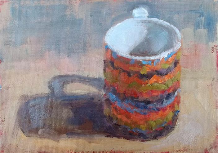 """My big mug"" original fine art by Deborah Newman"