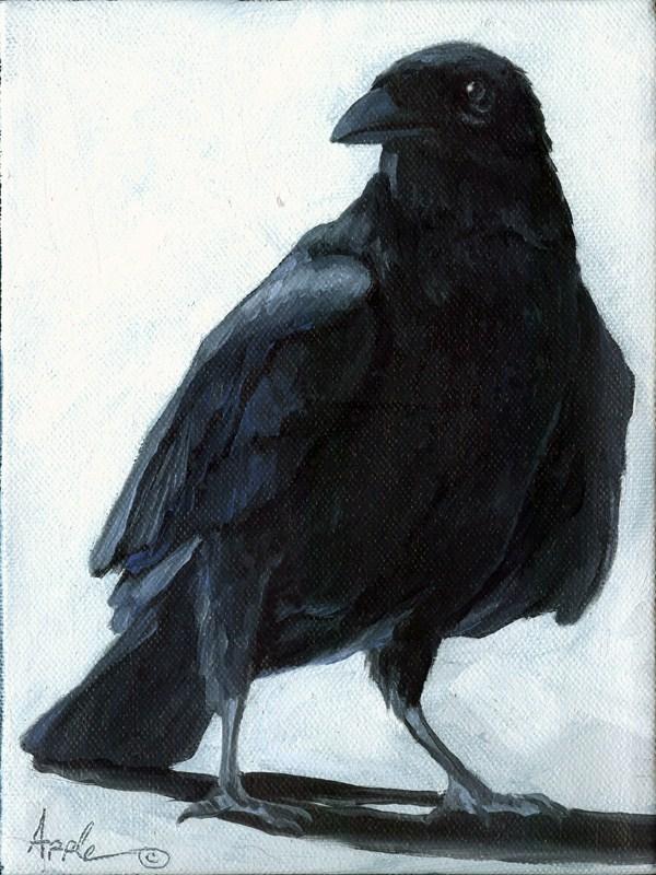 """The Raven - animal art oil painting"" original fine art by Linda Apple"