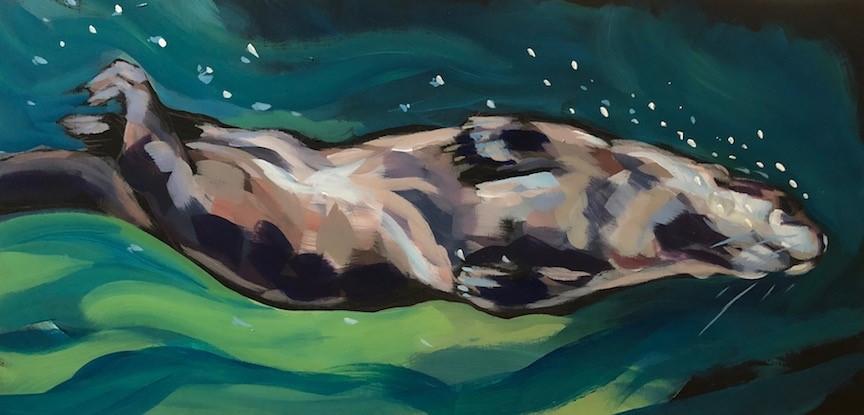 """Screwdiving Otter"" original fine art by Kat Corrigan"