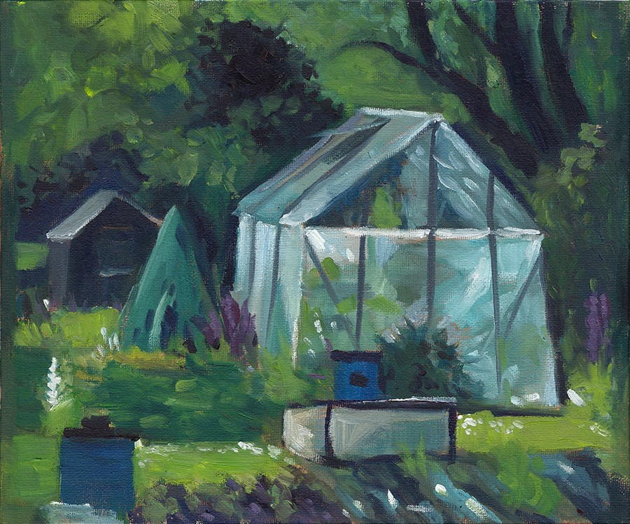 """""""Greenhouse at the Allotments"""" original fine art by J M Needham"""