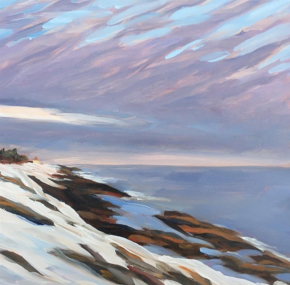 """#63 - Mackerel Sky - Two Lights State Park - Maine"" original fine art by Sara Gray"