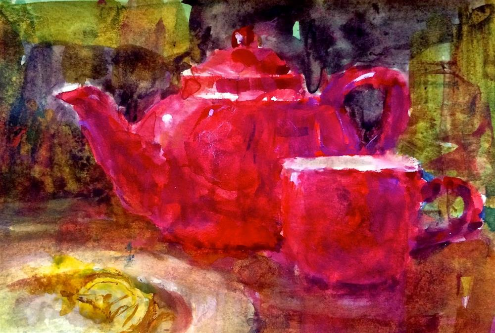 """""""My Red Teapot - Day 4"""" original fine art by Julie Ford Oliver"""