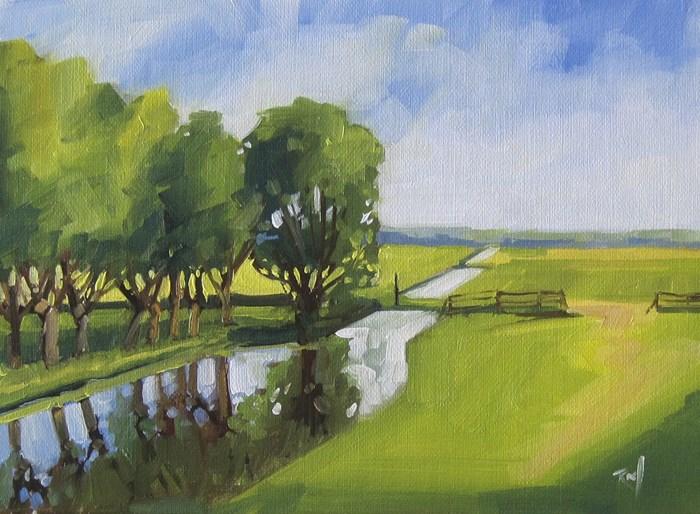 """No 805 The Green Fields"" original fine art by Robin J Mitchell"