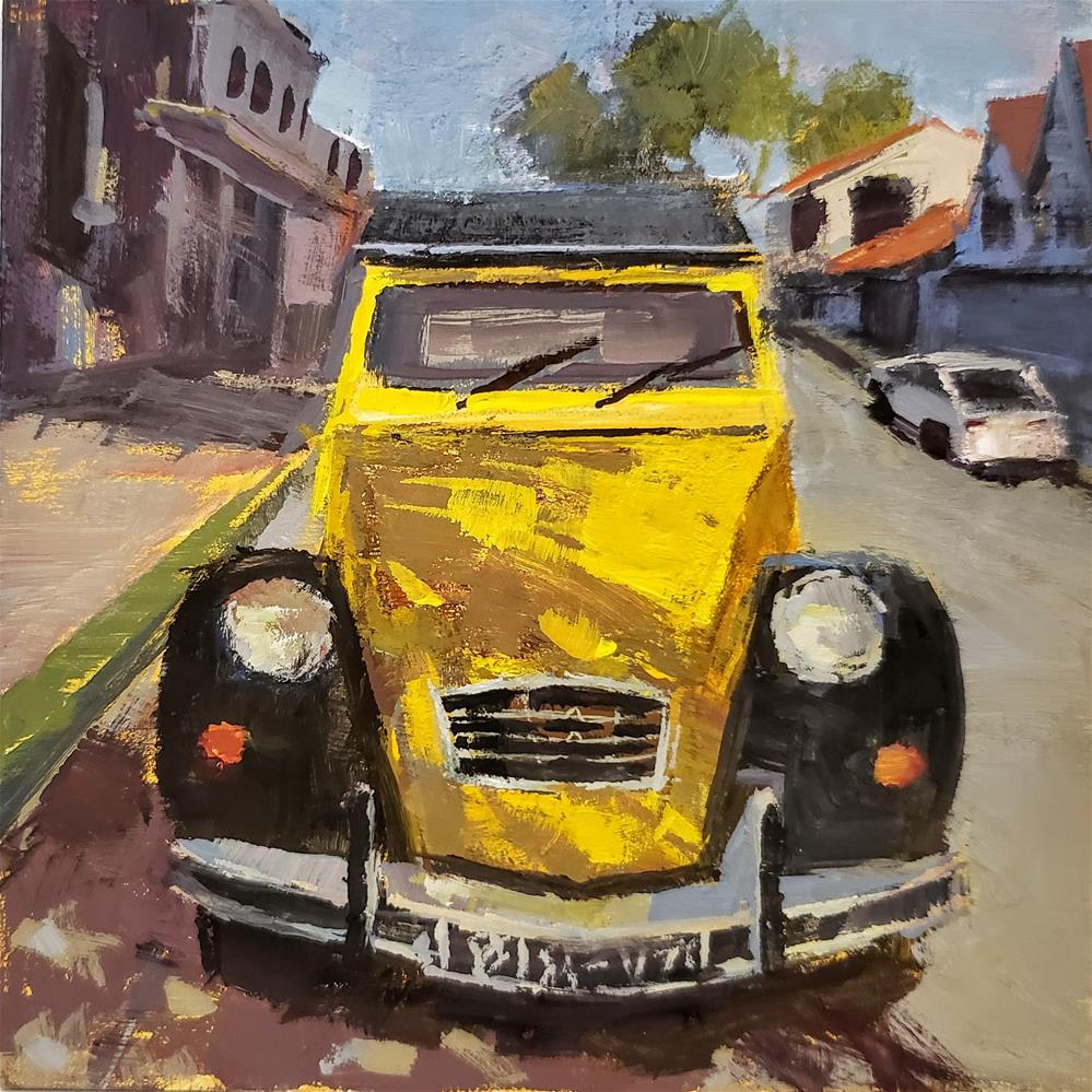 """Black and Yellow Citroen"" original fine art by Barbie Smith"