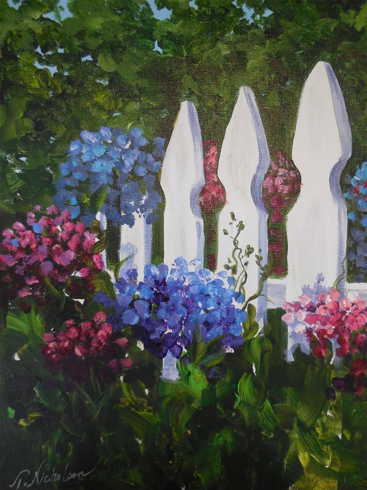 """White Picket Fence"" original fine art by Terri Nicholson"