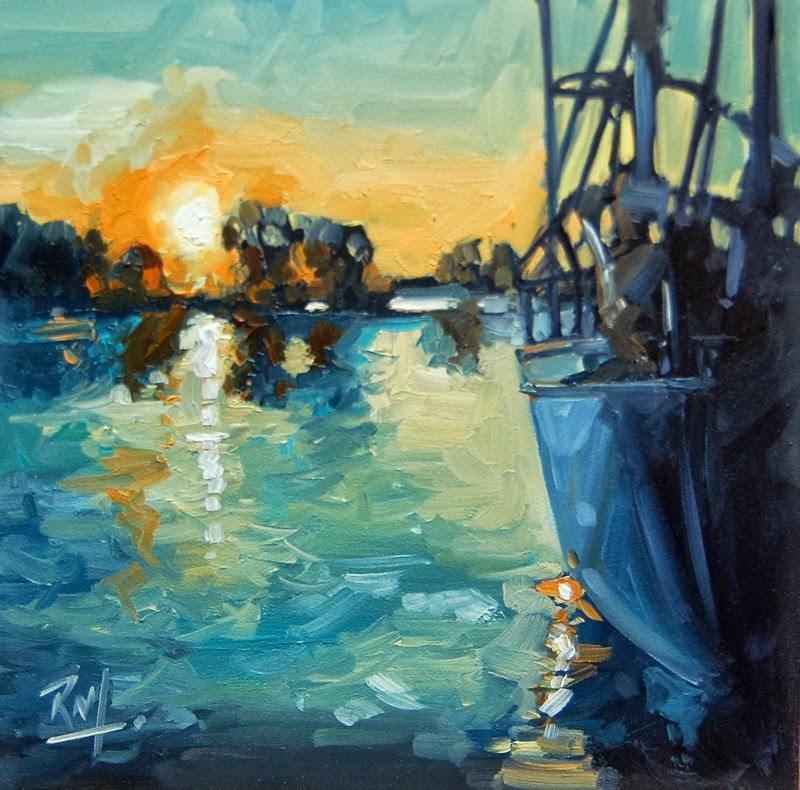 """No 621 Sunset Docking"" original fine art by Robin J Mitchell"