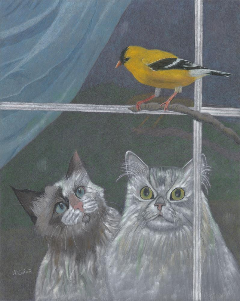 """""""Partners in Crime (matted and framed)"""" original fine art by Arlene Crafton"""