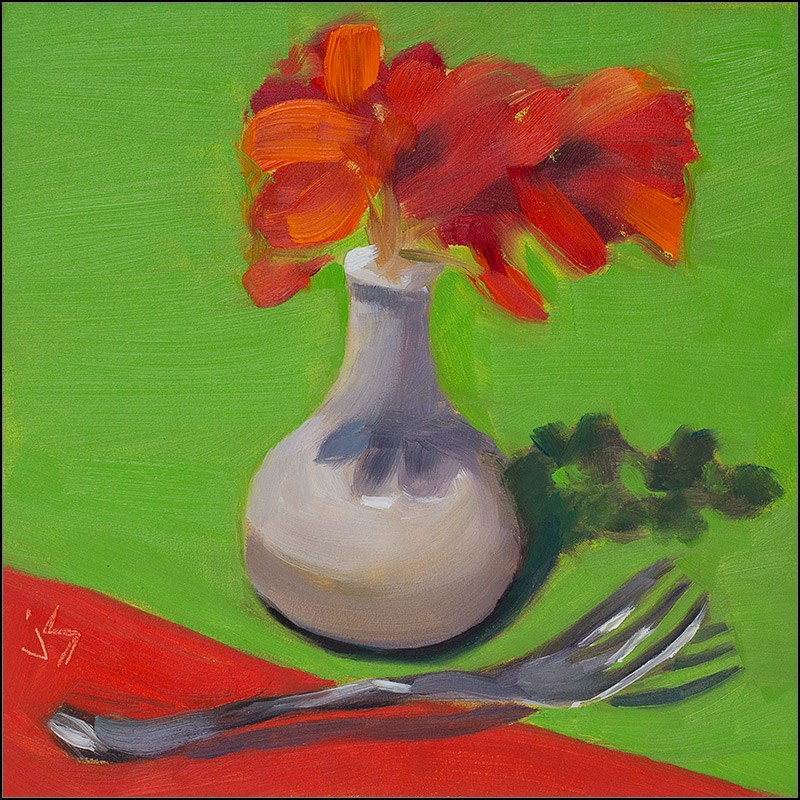 """30in30 - F & G 4 Fork and Geranium"" original fine art by Johnna Schelling"