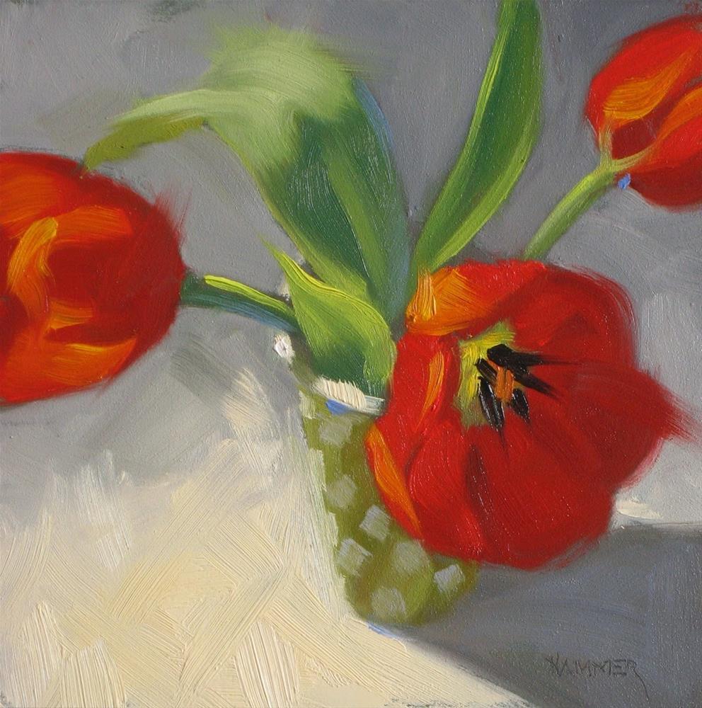 """Red Tulips 6x6 oil"" original fine art by Claudia Hammer"