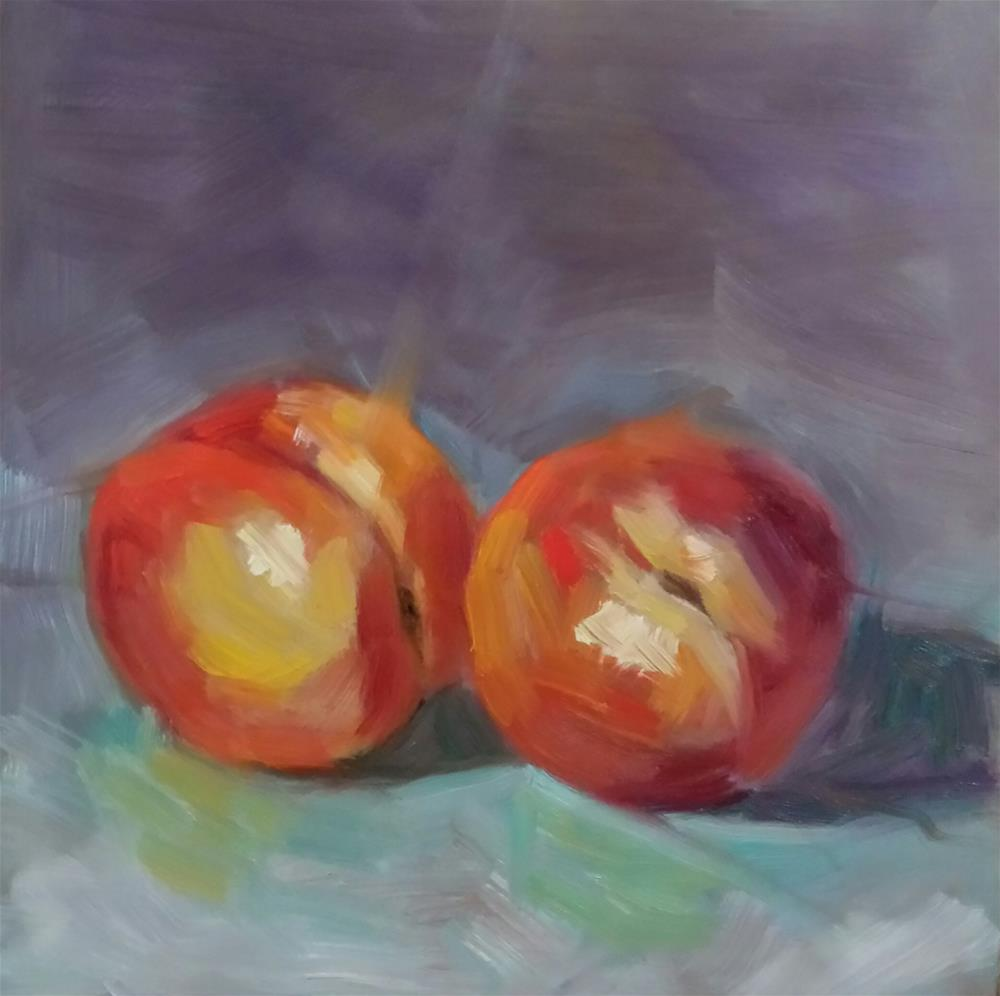 """Two Peaches"" original fine art by Cindy Haase"
