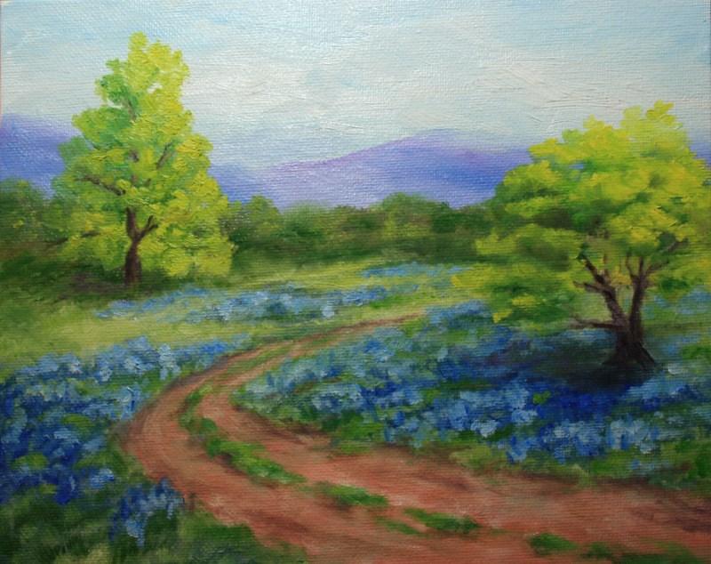 """""""Bluebonnets"""" original fine art by Jean Nelson"""