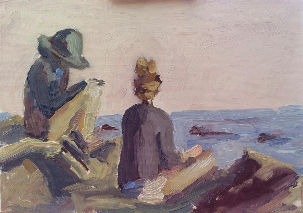 """On the Rocks at Malibu"" original fine art by Debbie Dowdle"