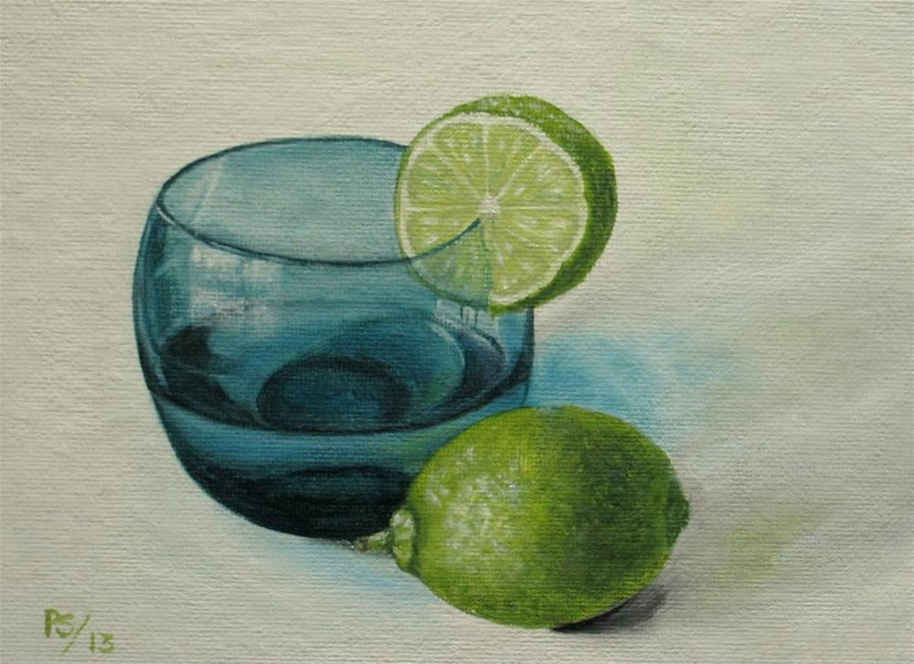 """50's blue glass with lime"" original fine art by Pera Schillings"