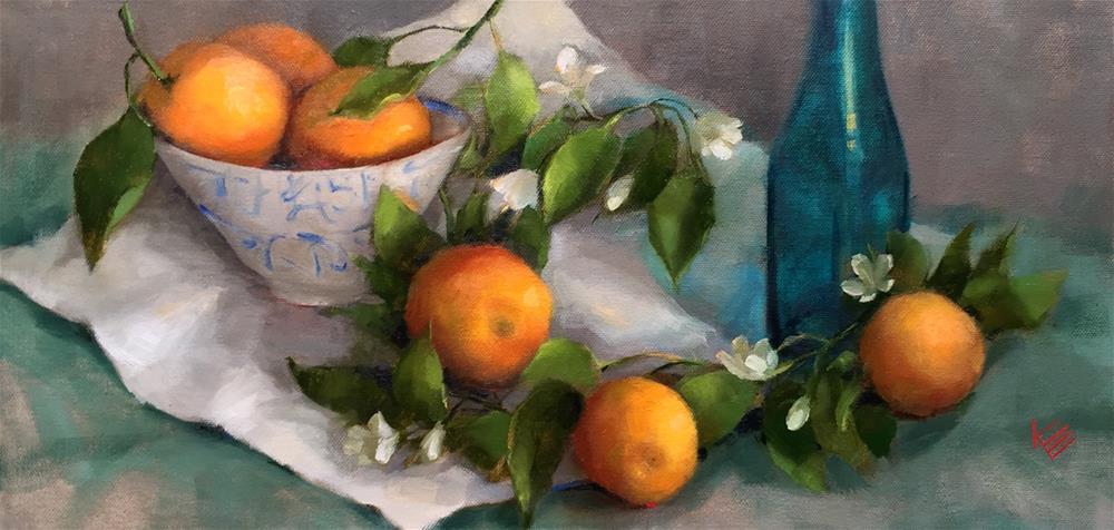 """Oranges on table"" original fine art by Krista Eaton"