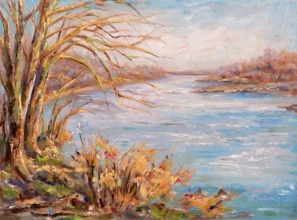 """Missouri River at Kaw Point"" original fine art by Tammie Dickerson"